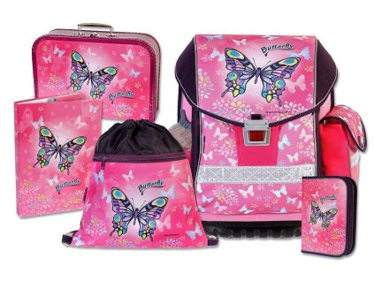 Školní batohový set ERGO TWO Butterfly 5-dílný  + LED svítilna