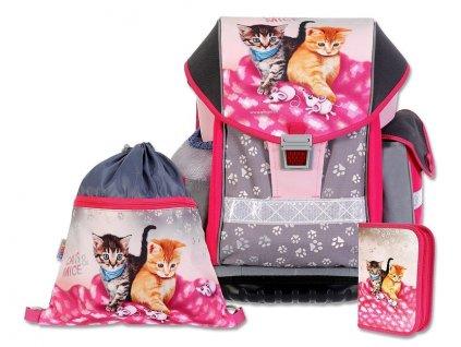 Školní batohový set ERGO TWO Cats & Mice 3-dílný  + LED svítilna