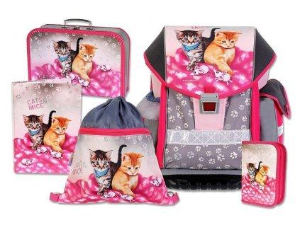 Školní batohový set ERGO TWO Cats & Mice 5-dílný  + LED svítilna
