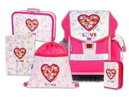 Školní batohový set ERGO TWO Love 5-dílný  + LED svítilna