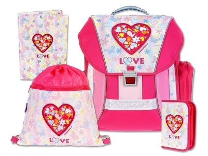 Školní batohový set Love 4-dílný  + LED svítilna
