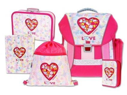 Školní batohový set Love 5-dílný  + LED svítilna