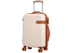 Kabinové zavazadlo ROCK TR-0159/3-S ABS - krémová   + Sluchátka, myš nebo pouzdro
