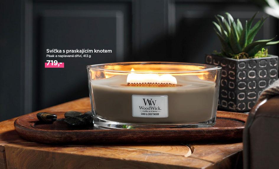 Svíčka s praskajícím knotem a vůní Písek a naplavené dříví od WoodWick