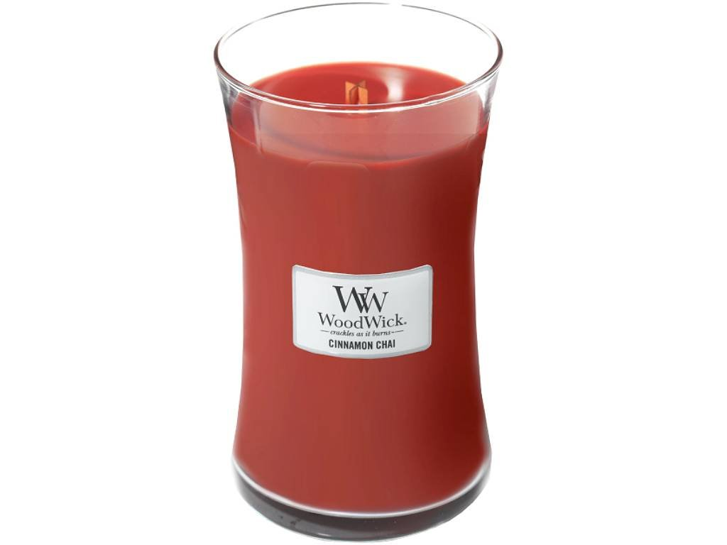 woodwick cinnamon chai velka