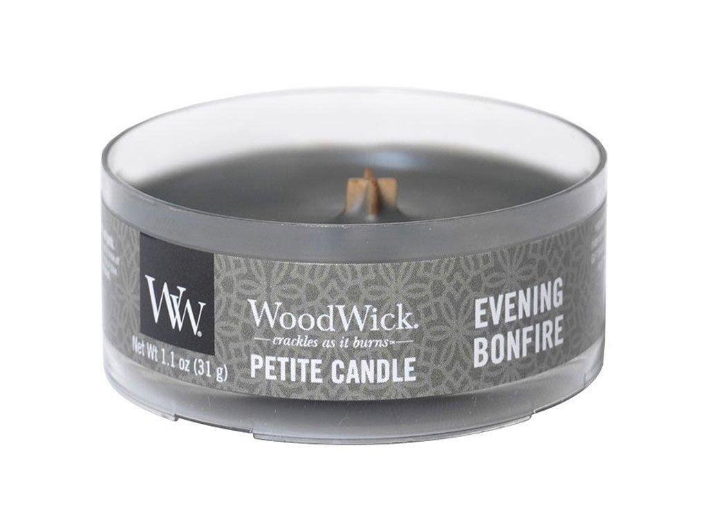 woodwick evening bonfire petite candle