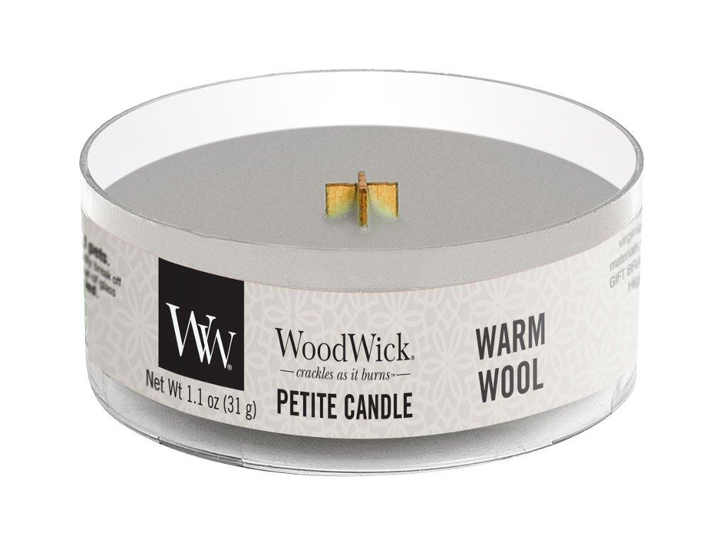 woodwick warm wool svicka petite candle