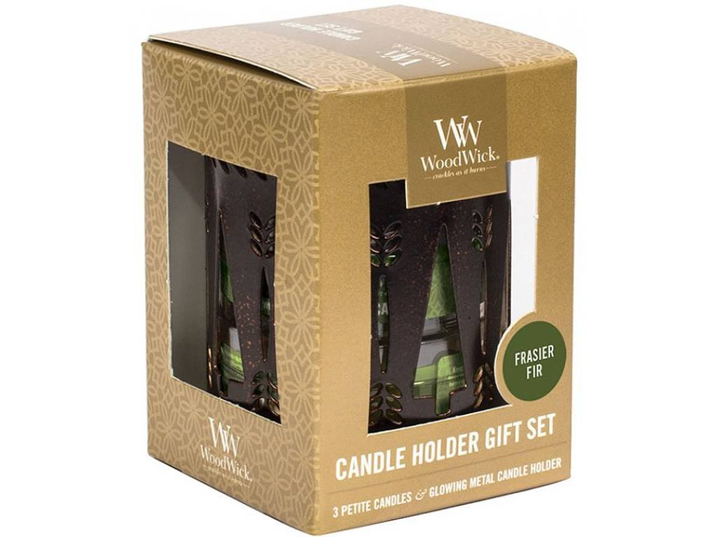 11594 woodwick sada 3 ks svicek petite candle s vuni jedle a svicnu bronze trees