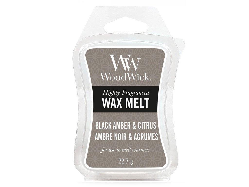 woodwick black amber citrus vosk