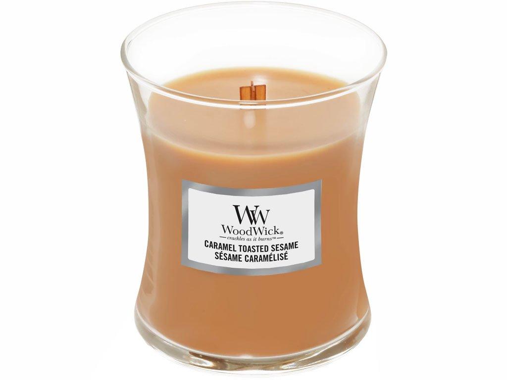 woodwick caramel tasted sesame stredni svicka