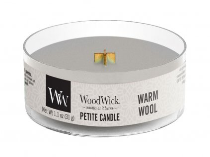 woodwick warm wool svicka petite candle