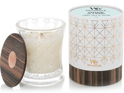 woodwick aura svicka grey tea musk detail