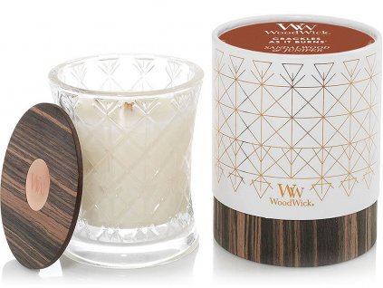 woodwick aura svicka sandalwood juniper detail