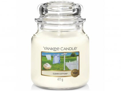 yankee candle clean cotton stredni