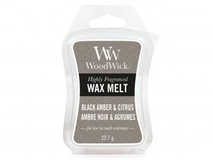 woodwick black amber citrus vosk