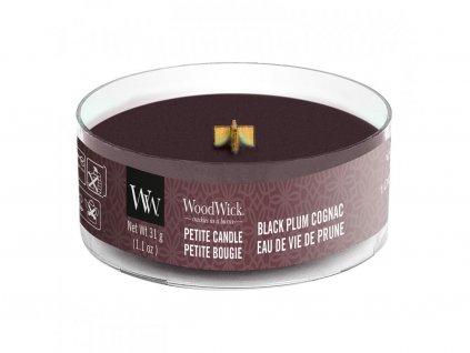 woodwick petite candle black plum cognac