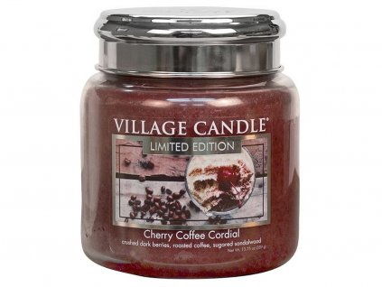 village candle svicka cherry coffee cordial stredni