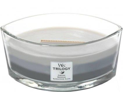 WoodWick – HearthWick Trilogy vonná svíčka Warm Woods (Hřejivé dřevo), 453 g