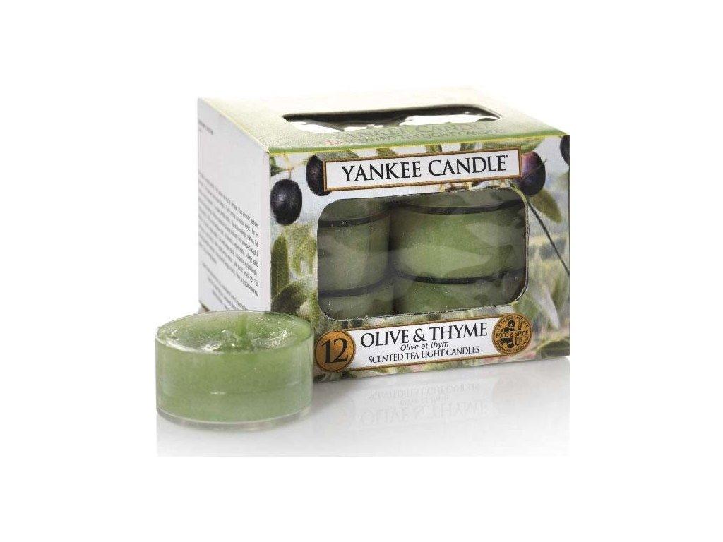 Čajové Svíčky Yankee Candle Olive & Thyme Olivy a Tymián 12 ks