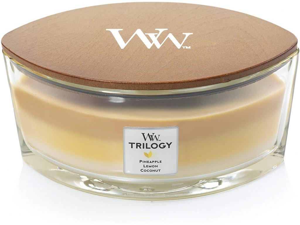 Svíčka WoodWick Trilogy Fruits of Summer Plody Léta 453,6g lodička
