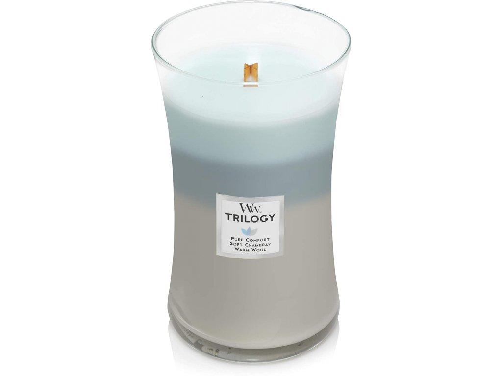 Svíčka WoodWick Trilogy Woven Comforts Hřejivé Pohodlí 609,5g velká