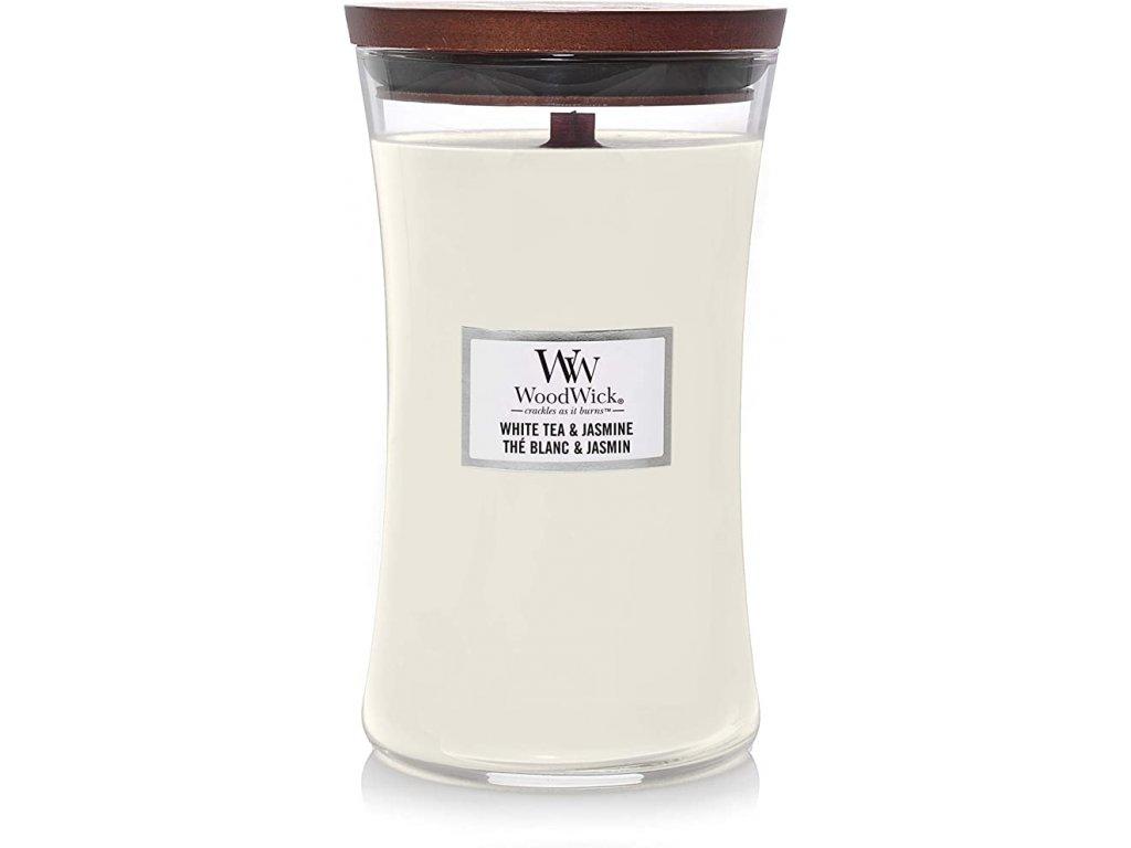 Svíčka WoodWick White Tea & Jasmine Bílý Čaj a Jasmín 609,5g velká