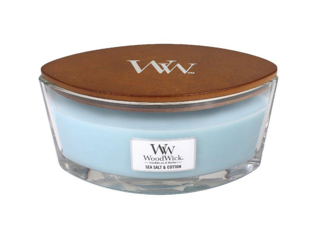 Svíčka WoodWick Sea Salt Cotton Mořská Sůl a Bavlna 453,6g lodička