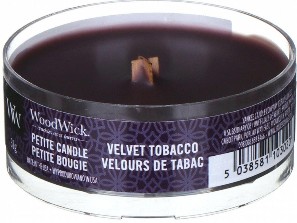 Svíčka WoodWick Velvet Tobacco Sametový Tabák 31g petite