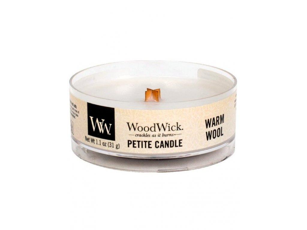 Svíčka WoodWick Warm Wool Hřejivá Vlna 31g petite