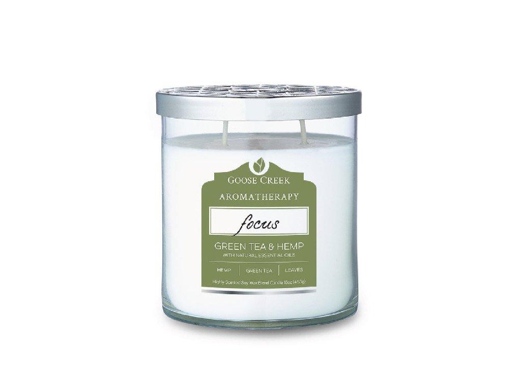 Svíčka Goose Creek Aromatherapy Focus Green Tea Hemp Zelený Čaj a Konopí 453g střední