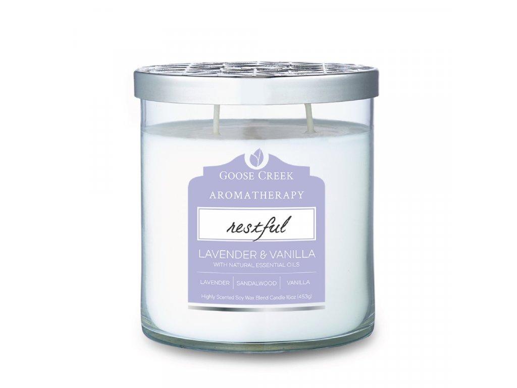 Svíčka Goose Creek Aromatherapy Restful Lavender Vanilla Levandule a Vanilka 453g střední