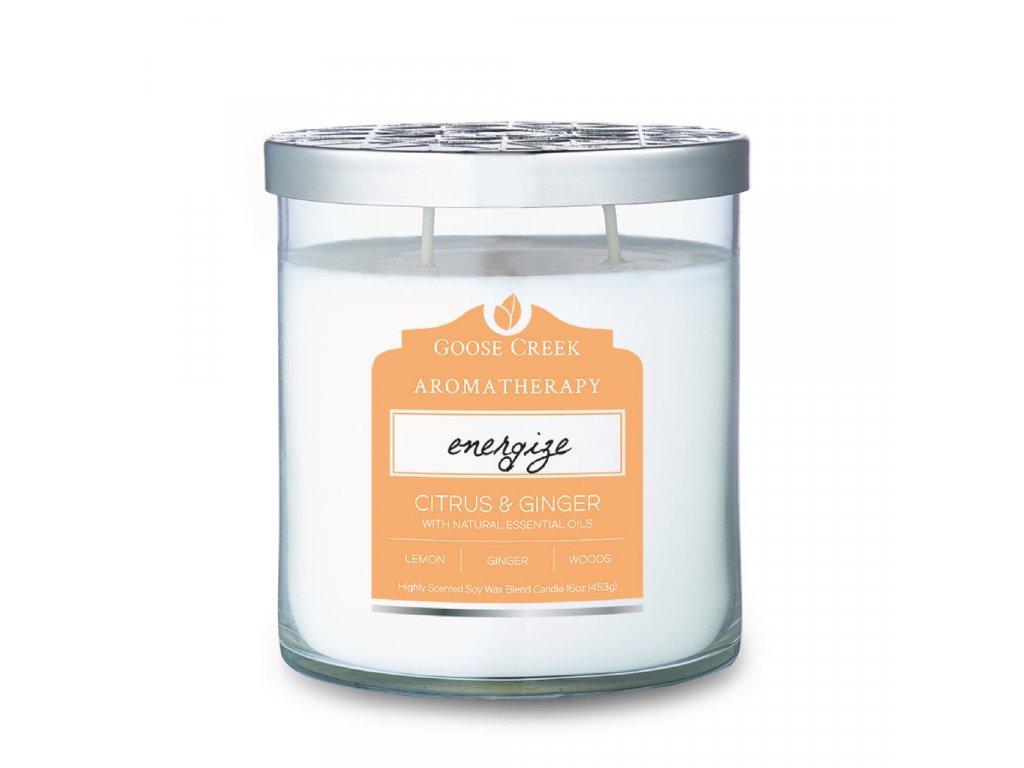 Svíčka Goose Creek Aromatherapy Energize Citrus & Ginger Citrusy a Zázvor 453g střední