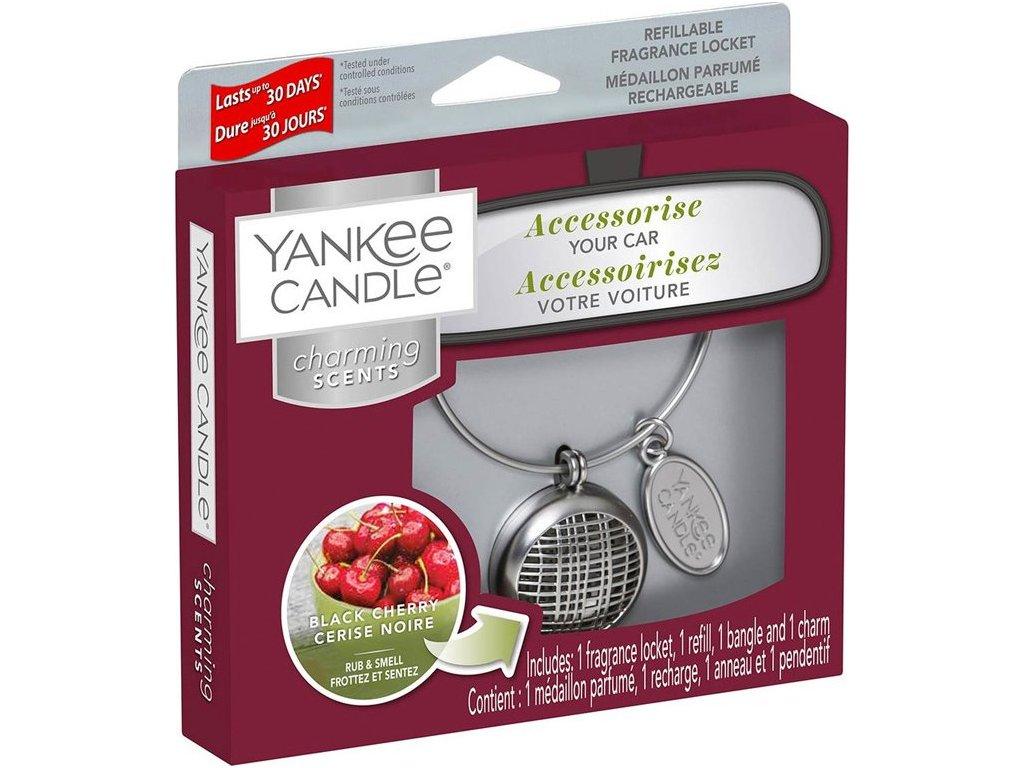 Yankee Candle Charming Scents Set Linear Black Cherry Černá Třešeň Difuzér Do Auta