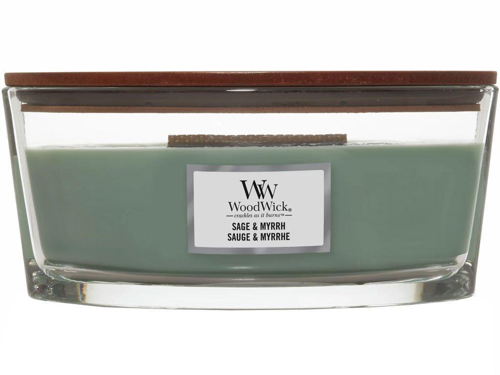 Svíčka WoodWick Sage & Myrrh Šalvěj a Myrta 453,6g lodička1