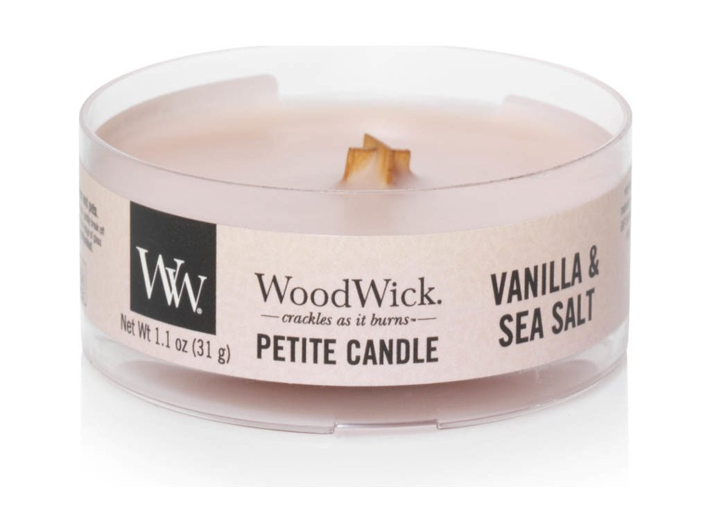 Svíčka WoodWick Vanilla Sea Salt Vanilka a mořská sůl 31g petite