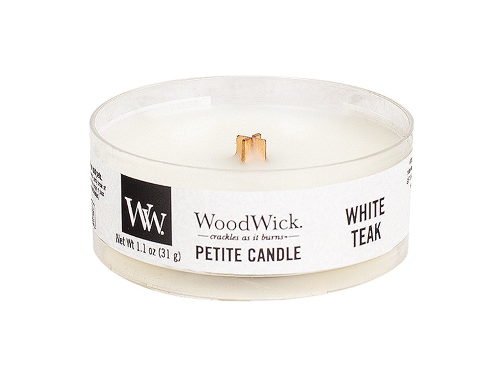 Svíčka WoodWick White Teak Bílý Teak 31g petite