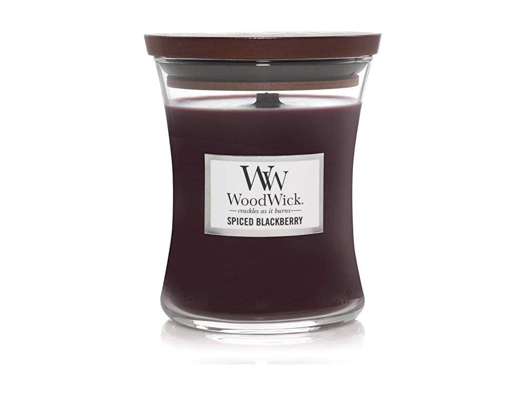 Svíčka WoodWick Spiced Blackberry - Pikantní Ostružina 85g malá