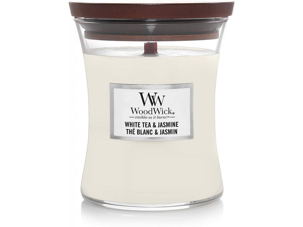 Svíčka WoodWick White tea & Jasmine - Bílý Čaj a Jasmín 85g malá