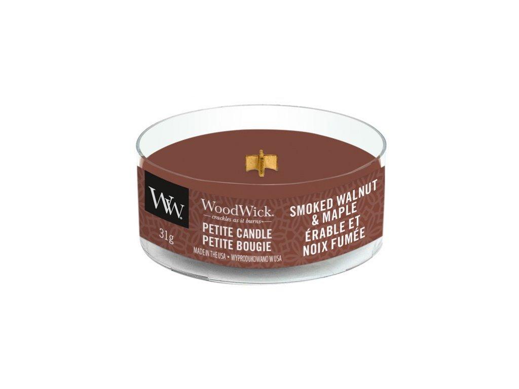 Svíčka WoodWick Smoked Walnut & Maple Pečené vlašské ořechy a javorové dřevo 31g petite