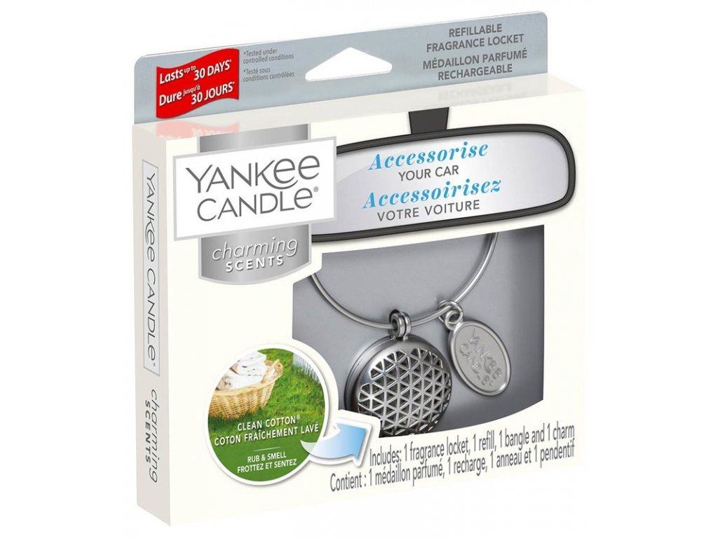 Yankee Candle Charming Scents Set Geometric Clean Cotton Čisté Prádlo Kovový Difuzér Do Auta