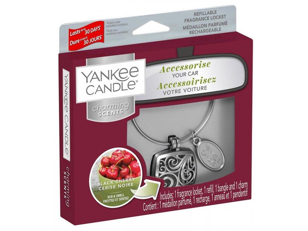 Yankee Candle Charming Scents Set Square Black Cherry Černá Třešeň Kovový Difuzér Do Auta