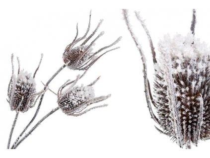 Umělá květina - zasněžený bodlák 89cm