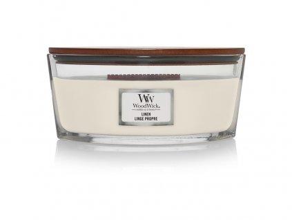 Svíčka WoodWick Linen Čisté Prádlo 453,6g lodička