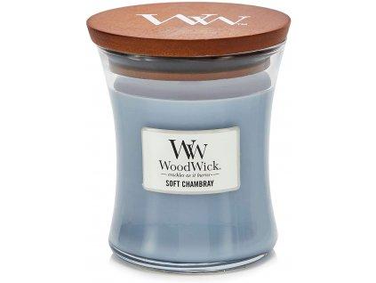 Svíčka WoodWick Soft Chambray - Čisté Prádlo s Jasmínem a Růží  275g střední