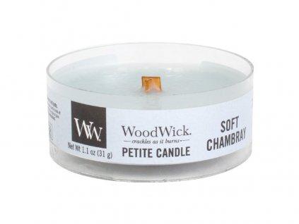 Svíčka WoodWick Soft Chambray Čisté Prádlo s Jasmínem a Růží 31g petite