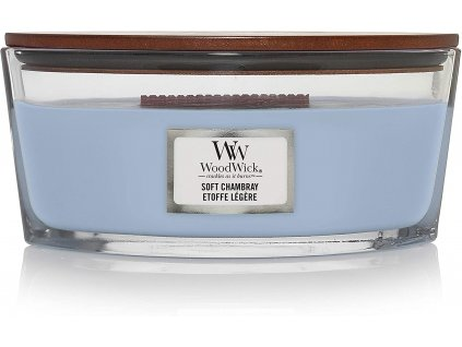 Svíčka WoodWick Soft Chambray Čisté prádlo s Jasmínem a Růží 453,6g lodička