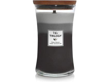 Svíčka WoodWick Trilogy Warm Woods - Hřejivé dřevo 609,5g velká