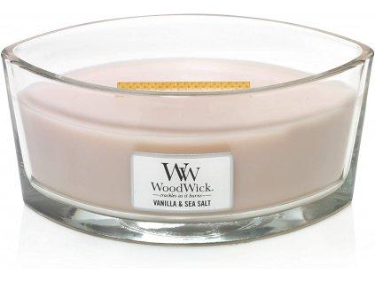 Svíčka WoodWick Vanilla Sea Salt Vanilka a mořská sůl 453,6g lodička