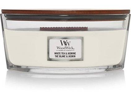 Svíčka WoodWick White Tea & Jasmine Bílý Čaj a Jasmín 453,6g lodička