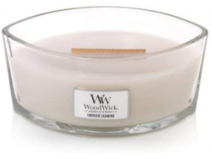 Svíčka WoodWick Smoked Jasmine Kouřový Jasmín 453,6g lodička